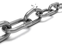 Cracked steel chain Royalty Free Stock Photos
