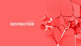 Cracked stone banner. Isolated wall destruction background. Fracture  background for banner. Rock explode and destruction illustration Royalty Free Stock Image