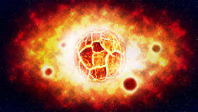 The cracked sun explosion and planet on space .illustration . Royalty Free Stock Photo
