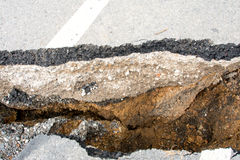 Cracked surface of an asphalt road Royalty Free Stock Image