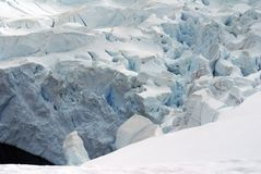 Cracked surface of a glacier. In Antarctica Royalty Free Stock Photos