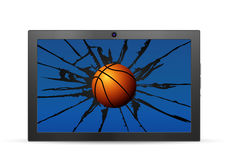 Cracked tablet basketball ball Stock Photo