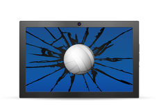 Cracked tablet volleyball Royalty Free Stock Photos