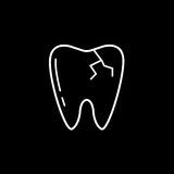 Cracked tooth line icon. Dental and medicine, vector graphics, a linear pattern on a black background, eps 10 Stock Illustration
