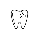 Cracked tooth line icon,. Dental and medicine, vector graphics, a linear pattern on a white background, eps 10 Royalty Free Illustration