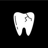 Cracked tooth solid icon. Dental and medicine, vector graphics, a filled pattern on a black background, eps 10 Stock Photography