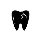 Cracked tooth solid icon. Dental and medicine, vector graphics, a filled pattern on a white background, eps 10 Royalty Free Stock Image
