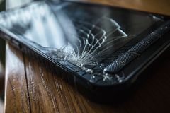 Cracked touch screen on Smart Phone royalty free stock photography