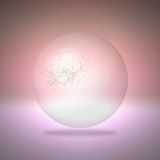 Cracked transparent sphere on red background Royalty Free Stock Image