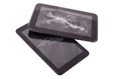 Tablet computer with broken screen. royalty free stock images