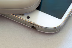 Cracked upper part of a smartphone Stock Photos