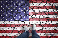 Cracked Usa flag with man Royalty Free Stock Images