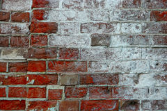 Cracked vintage brick wall background half covered with salt Stock Images