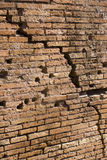 Cracked Wall. Exterior brick wall with a large crack Royalty Free Stock Image