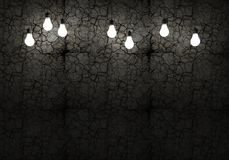 Cracked Wall and Bulbs. Dark and Grunge Wall Background with Light Bulbs stock illustration