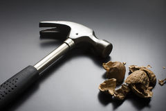 Cracked Walnut and Hammer royalty free stock images