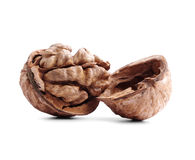 Cracked walnut isolated on white Stock Photo