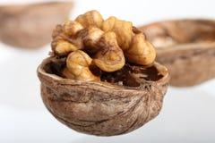 Cracked walnut on neutral background Stock Photos