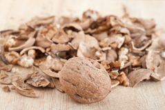 Cracked walnuts Stock Photography