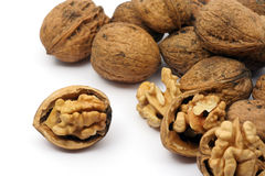 Cracked walnuts Stock Images