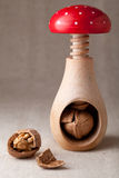 Cracked walnuts, nut kernel, shell, nutcracker Stock Photo