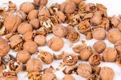Cracked walnuts. Stock Photos