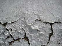 Cracked White colored wall exposed to open air forms texture stock image