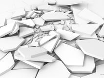 Cracked white damage ground surface. 3d render illustration Royalty Free Stock Images