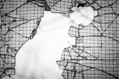 Cracked window with web Royalty Free Stock Images