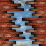 Cracked wood wall view to the sky Royalty Free Stock Photo