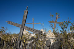 Cracked wooden crosses in abandoned cemetery Royalty Free Stock Images