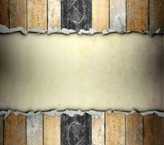Cracked wooden template with old paper background Stock Photography