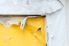Cracked yellow paint color concrete wall,texture background Stock Photo