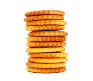 Cracker. Salty round cracker stack isolated on white Stock Images