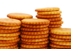 Cracker. Close-up of stacks of salty round cracker. Isolated on white Royalty Free Stock Photo