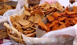 Cracker al forno asciutti dei pani Fotografie Stock Libere da Diritti