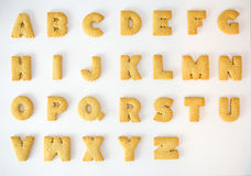 Cracker alphabet A-Z. Isolated on over white background Royalty Free Stock Images