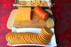 Cracker appetizer. The party food is all laid out stock photo