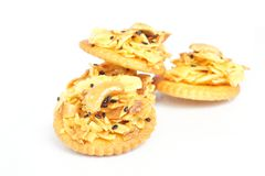 Cracker with backed durian and black sesame Stock Photos