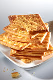 Cracker Biscuit. On white plate stock image
