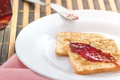 Cracker biscuit. Breakfast cracker biscuit with jam Stock Images