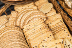 Cracker Biscuits In Wood Basket Royalty Free Stock Photography