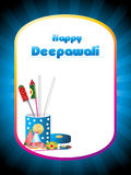 Cracker box concept greeting card for happy diwali. Blue rays background with cracker box concept greeting card for happy diwali Stock Photography