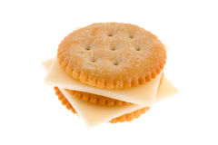 Cracker with cheese. On white background Stock Photography