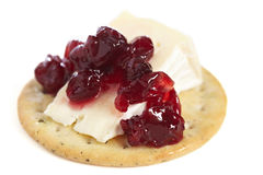 Cracker with Cheese and Cranberry Jam Royalty Free Stock Photography