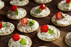 Cracker and Cheese Hors D'oeuvres Royalty Free Stock Photo