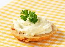 Cracker with cheese spread Stock Photos