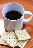 Cracker and coffee Royalty Free Stock Images