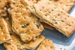 Cracker con l'uva passa Fotografia Stock Libera da Diritti
