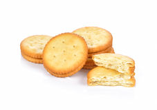 Cracker cookie on white background Royalty Free Stock Image